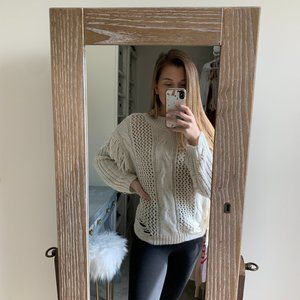 Forever 21 off white distressed sweater